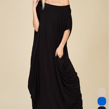 Grecian Relaxed Dress in Black