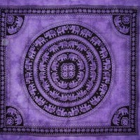 "Mandala Elephant Tapestry-Spread-Throw-Coverlet-Versatile-85"" x 90""-Purple"