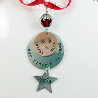 Custom- hand stamped- our first christmas ornament
