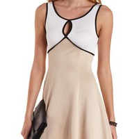 White Combo Color Block Keyhole Skater Dress by Charlotte Russe