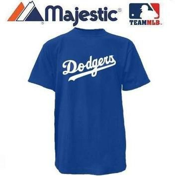 New YOUTH size Lg MLB Los Angeles DODGERS Majestic T-Shirt Tee Jersey Crewneck Replica