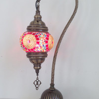 Colorful swan neck mosaic lamp with vintage look bronze plated base , Bedside lamp, Turkish lamp, Night Light, Gypsy Lamp. Desk Lamp, Lights