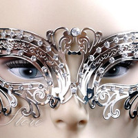 Beautiful Swan Silver Laser Cut Masquerade Mask - with Swarovski Inspired Diamonds