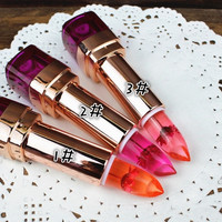 1pc Crystal Jelly Lipstick Flower Long Lasting Color Changeable Lip Gloss Stick Makeup