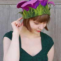 Felted floral hat, purple bell flower, unique fairy hat, festive elvish hat, unusual designer hat, artistic headgear, bohemian style, OOAK