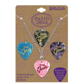Christian Jewelry womens Guitar Pick  Pick Jesus  Christian Necklace SET 4 Interchangeable