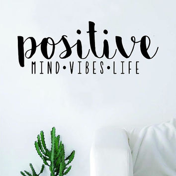 Positive Mind Vibes Life Wall Decal Sticker Room Art Vinyl Beautiful Cute Namaste Flower Meditate Buddha Peace Love Zen Yoga Good Vibes