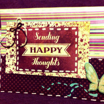Sending happy thoughts handmade greeting card and matching envelope.