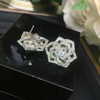 2018 Charm PIAGET Women Rose Crystal Rhinestone Fashion Stud Earring cartilage hoop stud drop Jewelry