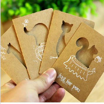 DIY Mini Cute Kawaii Animal Pierced Post card Lovely Cartoon Thank you Happy birthday Greeting Card Stationery Free shipping 360
