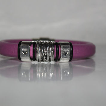 Light purple leather bracelet, handmade items, leather supplies