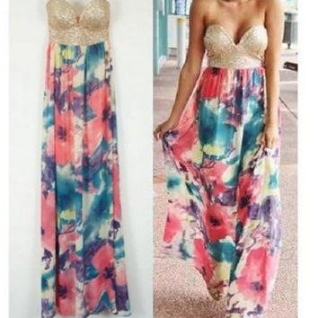 New! Lady's Floral Sequin Strapless Boho Long Summer Beach Maxi Dress Sundress [7942110151]