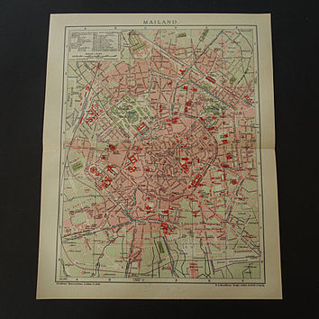 MILAN old map of Milan Italy 1905 original antique city plan about Milano Mailand vintage detailed maps poster with year date 25x30c 10x12""