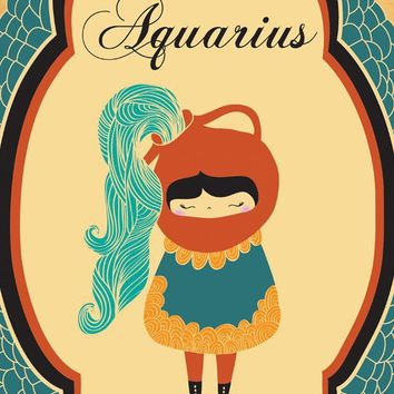 "AQUARIUS Astrological Sign Art Print ""Aquarius"" Birth Sign 8x10 Original Artwork"