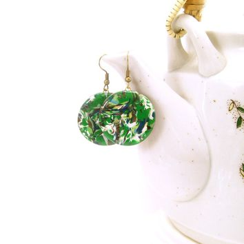 Abstract Clay Dangle Earring, Multicolored with Greens, Handmade Polymer Jewelry