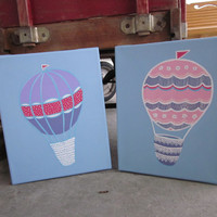 Hot Air Balloons Handpainted Paintings Set Wall Decor Art for Nursery, Kids Room - You customize! - Inspired by Pottery Barn