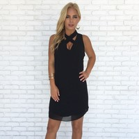 Eyes On You Shift Dress in Black