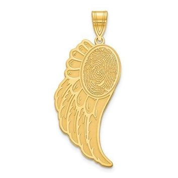 Personalized Angel Wing with Fingerprint Charm Pendant
