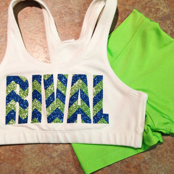 Custom Glitter & Chevron Print Cheer Set - Sports Bra and Hot Shorts - Dance Gymnastics - Multiple Color Options