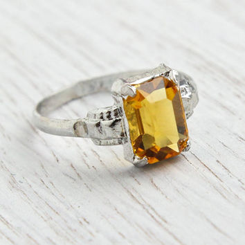 Vintage Sterling Silver Orange Stone Ring -  Art Deco Style 1950s Size 4 1/2  Emerald Cut Signed MH Jewelry / Amber Citrine Glow