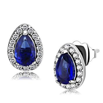 Elise Earrings - Women's Synthetic Montana Blue Stone Pear Shaped Stainless Steel Earrings