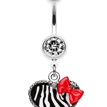 Cute Zebra Heart Red Bow Charm Belly Button Ring