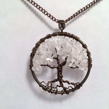 Tree Of Life Necklace Clear Quartz Pendant Brown Wire Wrapped and Brown Chain Ice Quartz Semi Precious Gemstone Jewelry