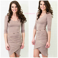 Nashville Nights Taupe Bodycon Midi Dress