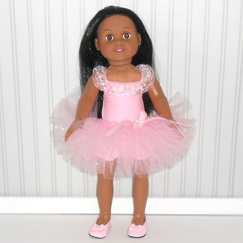 Pink Dance Outfit for 18 inch Dolls with Leotard and Tutu American Doll Clothes