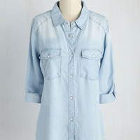 In More Ways Than Fun Top in Light Wash | Mod Retro Vintage Short Sleeve Shirts | ModCloth.com