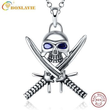 1 Piece 925 Sterling Silver Halloween Vintage Punk Gothic Necklace Double Knife Skull Necklace Pirate Jewelry Sapphire for