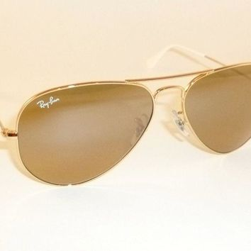New RAY BAN Aviator Sunglasses Gold Frame RB 3025 001/3K Brown Mirror Lens 62mm