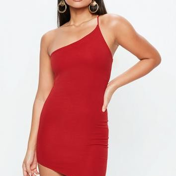 Missguided - Red One Shoulder Mini Dress