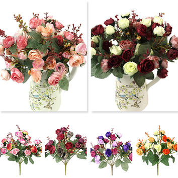 1 Bouquet 21 Head Artificial Rose Colorful Silk Flower Capable Fake Flowers For Beauty Home Party Wedding Decor
