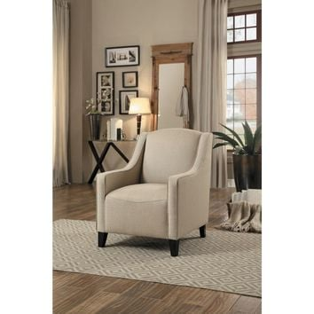 Upholstered Accent Chair With Wooden Legs In Beige Fabric