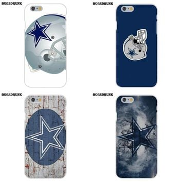 For Apple iPhone X 4 4S 5 5C SE 6 6S 7 8 Plus Soft Silicone TPU Transparent Cell Phone Case Cover Dallas Cowboys Helmet Logo