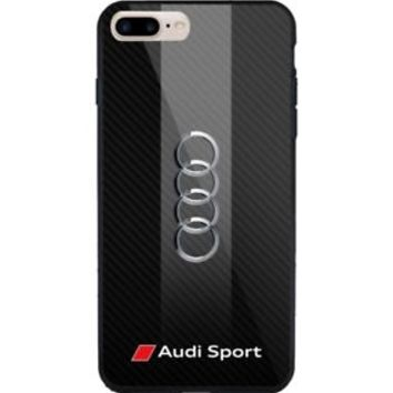 Audi Sport Automotive Stripes Logo iPhone 7 and 7+ Hard Plastic Case Cover