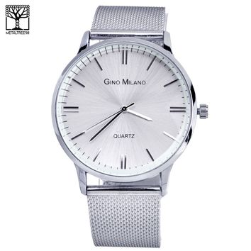Jewelry Kay style Men's Fashion Silver Plated Stainless Steel Metal Mesh Band Watches WM 7974 S