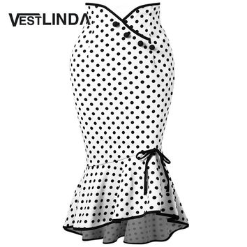 VESTLINDA Polka Dot Ruffle Mermaid Skirt Work Office Skirts 2018 Casual Ladies Trumpet Skirts Summer Womens Casual Bowknot Skirt