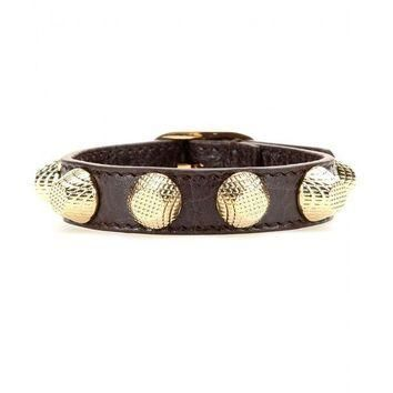 ONETOW balenciaga giant stud leather bracelet 2