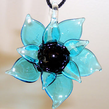 Large Blue & Black Glass Flower Necklace with Black Satin Cord. Pendant Necklace. Turquoise Blue. Bright Blue. Jewelry Sale.
