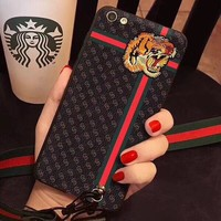 Tiger pattern Imitation leather phone case for iphone 7 7 plus 8 8 plus 6 6s 6plus 6s plus + Nice gift box! -LJ-wx