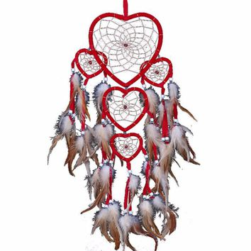 Heart Trio Feather Dreamcatcher