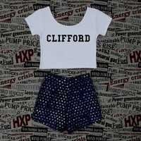 CLIFFORD 5SOS Crop Top Ladies Short Sleeve Stretch T Shirt Tee