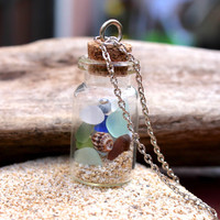 Sea Glass Jewelry from Hawaii, Beach in a Jar, Hawaiian Jewelry by Mermaid Tears, ocean inspired Seaglass vial necklace, north shore Oahu