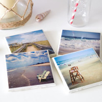 Beach coasters, nautical coasters, ocean coasters, photo coasters, beach house decor, housewarming gift, birthday gift for her gifts for mom