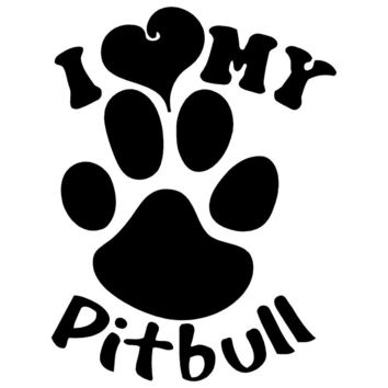 I Love My Pitbull Vinyl Car Sticker
