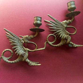 Bronze Griffin Candlesticks - goth candlesticks - candle holders - mythology - vintage candlesticks - Gothic England - griffon - blackened