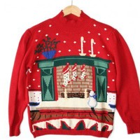 Shop Now! Ugly Sweaters: Kitty Cat & Fireplace Tacky Ugly Christmas Sweater Women's Size Medium (M) $25 - The Ugly Sweater Shop