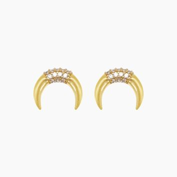Luna Pave Earrings - Gold